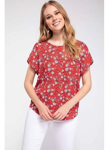 DeFacto Çiçek Desenli Krep Bluz Kırmızı
